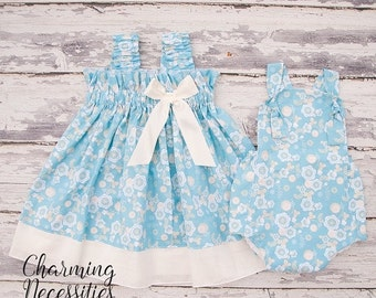 SALE Big Sister Little Sister Outfits, Sibling Outfits , Girls Ruffled Sundress and Baby Romper Sunsuit in Blue Haze Baby Shower Gift