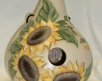 Sunflower Gourd Birdhouse - Hand Painted