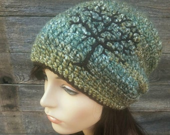 Slouchy Beanie Slouchy Hat Tree of Life Hat Sage Green Hat Chocolate Brown Acrylic Hat Winter Hat Boho Hat Womens Hat Mens Hat MADE TO ORDER