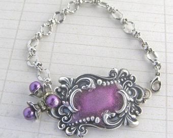 Purple Enamel Bracelet, Silver Plated Luggage Tag Bracelet, Luggage Tag Jewelry, Purple Bead Bracelet, Bohemian Style Bracelet