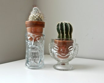 Clear Glass Monster Planters, Glass Head Vases