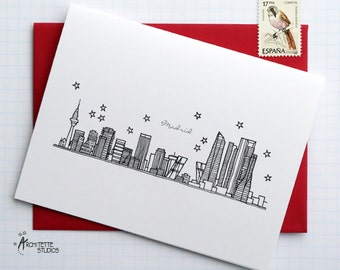 Madrid, Spain - Europe - City Skyline Series - Folded Cards (6)