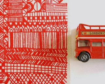 Tiled -  screen printed fabric - basic colours