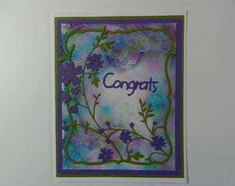 Handmade Greeting card  Congrats purple and green with flowers