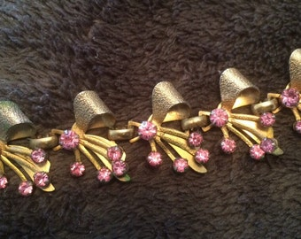 Vintage pink rhinestone bracelet Kramer WW2