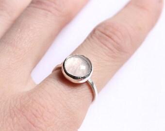 Sterling Silver Rose Quartz Ring - Pink Quartz Ring - Dainty Rings - Silver Rose Ring - Silver Rings for Women