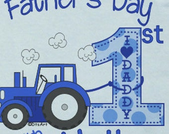Happy First 1st Father's Day Onsie LOVE w/ Babies Name  Iconic Blue Tractor Custom PERSONALIZED w/ Name Great Baby Gift for NEW Daddy
