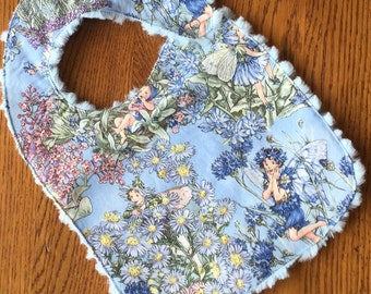 Blue Beautiful Enchanted Fairy Minky Baby/Toddler Bib