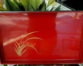 Hand Painted Red And Black Lacquered Wooden Serving Tray / Made In Japan / Mid Century Modern / Home Decor