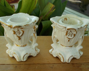 White And Gold Made In Japan Candle Holders Romantic Home Paris Apartment Shabby Chic