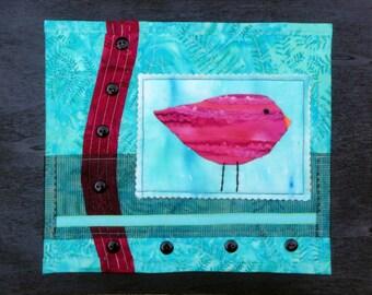 Aqua & Fuchsia Fiber Art Bird Collage | Quilted Art