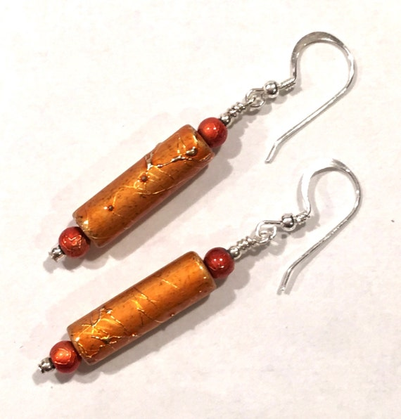 Orange textured earrings Sterling Silver ear wires