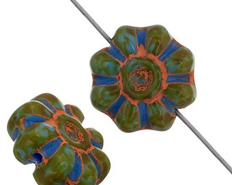 10 Pieces Czech Glass Flower Spacers-BLUE MARBLE 12mm (PG283600)