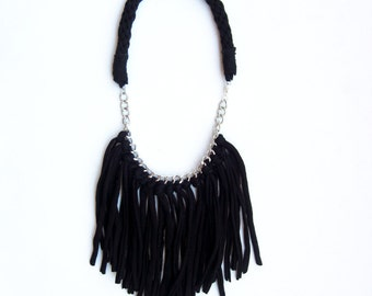 Tshirt yarn fringe necklace. Cotton Fringe Necklace. Statement Fringe Necklace. Black Cotton Fringe Necklace. Black Statement Necklace.