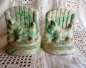 Vintage Green Slag Scotty Dog Terrier Bookends, Precious