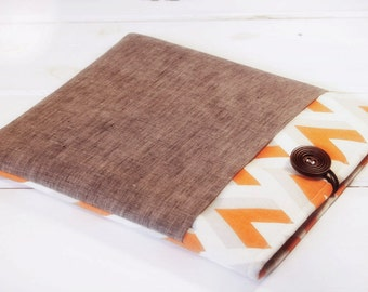 Gadget Cases and Covers made to FIT ANY BRAND Reader, Kindle Case|Kindle Paperwhite Case|Nook Glow Case in Grey and Orange Chevron and Linen
