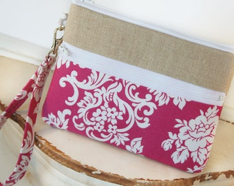 Catherine Damask and Linen iphone/samsung Wristlet Zipper Clutch Purse|Cell Phone Wallet|iPhone Case|Mobile Accessories|blackberry|Nexus