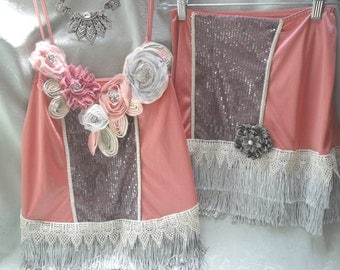 30% OFF - June Sale 2 PC FLAPPER 1920s Gatsby Downton Abby Roaring 20s Speakeasy - Mauve, Gray and Ivory