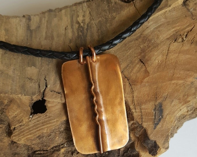 Copper Pendant on Leather Fold Form Jewelry