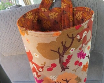 Trash Bin, Car Trash Bag, Cute Car Accessories, Headrest Bag, Trash Container, Foxes and Fall Trees and Leaves