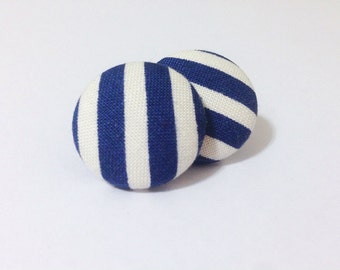 Navy and White Striped Fabric Button Earrings