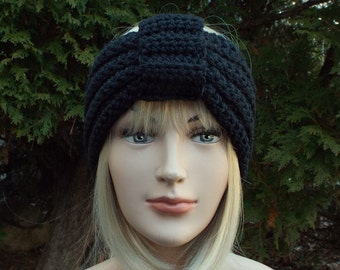 Black Turban Headband, Womens Ear Warmer, Crochet Headband, Boho Head Wrap, Womens Ski Band, Chunky Earwarmer, Winter Headband