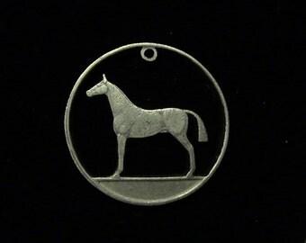 Ireland - cut coin pendant/charm - w/ Horse - 1986