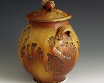 Pottery, Handmade, Red Glazed, Porcelain, Jar With Acorn Knobs and Deep Oak Leaf Stamps