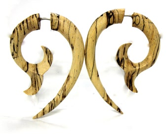 Fake Gauges earrings,tribal style,hand carved,wood Earrings ,Tribal Expander Split,organic,hand carved,naturally