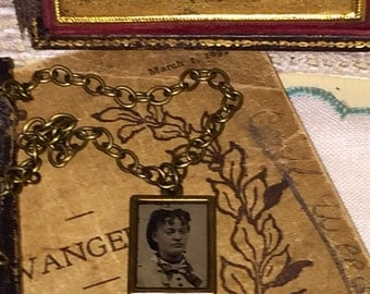 Victorian Gem Tintype Photo Necklace Pendant Goth Steampunk Oddities Mourning