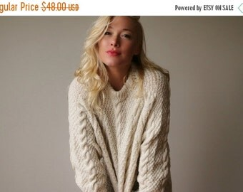 ON SALE 1980s Fishermans Cable Knit Sweater~Size Small to Extra Large