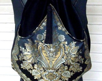 Classy Boho Backpack Black and Old Gold   Tapestry Backpack Jacquard   Black Velvet Backpacks  Sling Bag  TApestry Book Bag