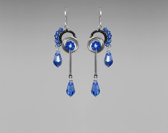 Steampunk Earrings with Blue Swarovski Crystals, Sapphire Swarovski Crystal Earrings, Statement Jewelry, Unique Jewelry, Hephaistos II