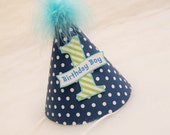 Navy Blue and Lime Green Boys Party Hat - Preppy party, nautical party, little man party, little gentleman party, blue and green birthday