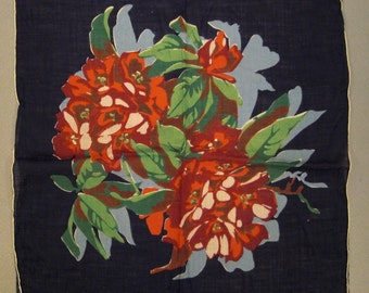 Stunning DAHLIAS HANKIE Handkerchief Large 15 X 14 Red and Black mint