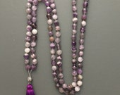 amethyst 108 bead traditional hand knotted mala prayer beads with silk tassel