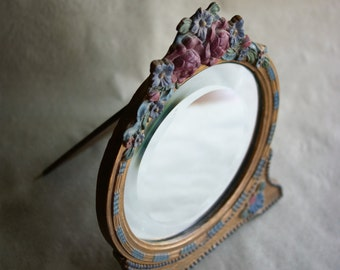 English Barbola Mirror | Gesso and Wood | Floral Design | Art Deco Era | 1920's Dressing Table | Beveled Mirror | Reduced from 175