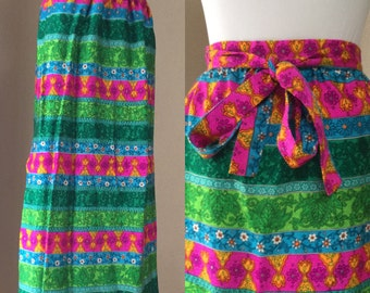 Vintage 60's maxi .Wrap Skirt. Multi colored summer skirt.