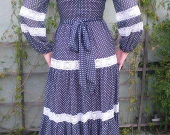 SALE 40% OFF Bohemian Maxi Dress. Navy Blue,Swiss Dot,Prairie Dress, Vintage 60's