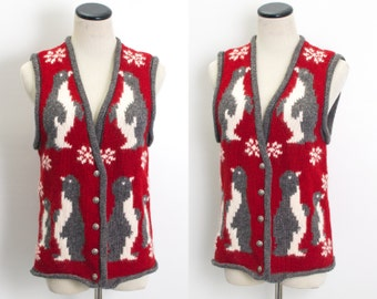 VTG 90's KnitWool Penguins Winter Vest (Medium / Large) Tacky Christmas Sweater Vest Penguin Button Up Red Kitschy Sleeveless