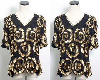 VTG 80's Gold Rose Sequins Blouse (Large) Black Silk Sequined Beaded Floral Design Scalloped Hem Short Sleeves V Neck Party Formal Metallic
