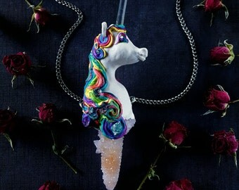 Unicorn Necklace - Spirit Quartz Unicorn and Clear Quartz Horn - Large Rainbow Unicorn Pendant Wand - Crystal Unicorn - Rainbow Lovebeam