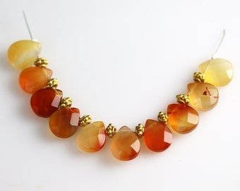 Natural Carnelian Beads - Pear Briolettes - Carnelian Beads - 13 mm