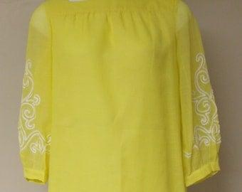 Sheer bright yellow R & K Originals dress vintage 60s long sleeve white trim M/L