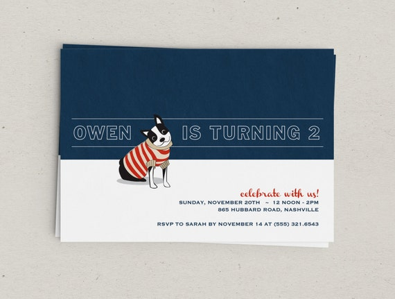 Preppy Dog Party Invitations