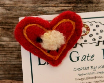 Sheep, Needle Felted Sheep Heart Pin, Felted Sheep Brooch, # 1534