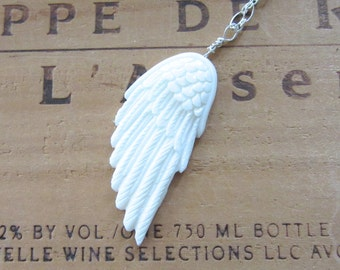 Carved Bone Wing Necklace