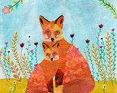 Animal Art, Mother and Baby Fox Art Print on Wood, Animal Painting, Children Nursery Decor