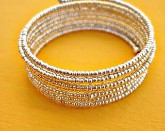Silver Glass Beaded Adjustable Memory Wire Wrap Bracelet: Spark