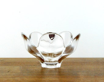 Orrefors Sweden Pomona Tulip Shaped Crystal Bowl, Lars Hellsten Design, Scandinavian Glassware, Vintage Danish Modern Decor, Original Label